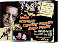 1955 Movies Canvas Prints - Count Three And Pray, Van Heflin Canvas Print by Everett