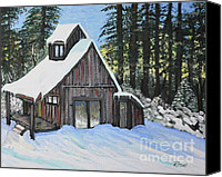Country Scenes Painting Canvas Prints - Country Cabin Canvas Print by Reb Frost