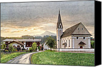 Alpine Canvas Prints - Country Church Canvas Print by Debra and Dave Vanderlaan