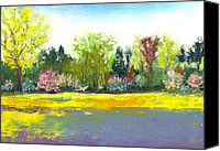 Landscape Pastels Canvas Prints - Country Garden Canvas Print by David Patterson