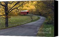 Indiana Autumn Canvas Prints - Country Lane - D007732 Canvas Print by Daniel Dempster