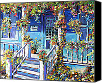 Prankearts Canvas Prints - Country Porch and Flowers by Prankearts Canvas Print by Richard T Pranke