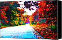 Indiana Autumn Digital Art Canvas Prints - Country Road Canvas Print by Jan Bonner