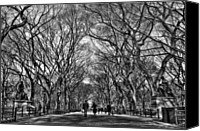 Couples Canvas Prints - Couple at Literary Walk Black and White Canvas Print by Randy Aveille