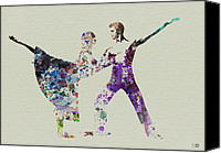 Ballet Canvas Prints - Couple Dancing Ballet Canvas Print by Irina  March