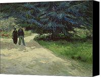 Engagement Canvas Prints - Couple in the Park Canvas Print by Vincent Van Gogh