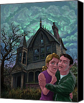 Spooky Digital Art Canvas Prints - Couple Outside Haunted House Canvas Print by Martin Davey