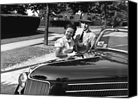 Woman At The Well Canvas Prints - Couple Posing At Open Top Car, (b&w), Portrait Canvas Print by George Marks