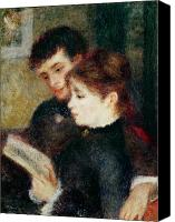 Library Painting Canvas Prints - Couple Reading Canvas Print by Pierre Auguste Renoir