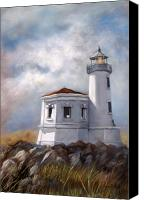 Lighthouse Canvas Prints - Couquille River Lighthouse  Bandon Ore. Canvas Print by Lynne Parker