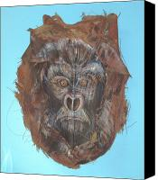 Gorilla Mixed Media Canvas Prints - Courage Canvas Print by Ellen Burns