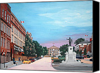 Ontario Mixed Media Canvas Prints - Courthouse Square Brockville Ontario 2009 Canvas Print by John Cullen