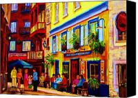 Quebec Painting Canvas Prints - Courtyard Cafes Canvas Print by Carole Spandau