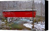 Valley Green Canvas Prints - Covered Bridge Along the Wissahickon Creek Canvas Print by Bill Cannon