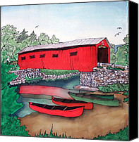 Bridge Tapestries - Textiles Canvas Prints - Covered Bridge and Canoes Canvas Print by Linda Marcille
