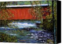 Bridge Pastels Canvas Prints - Covered Bridge and  Wissahickon Creek Canvas Print by Joyce A Guariglia