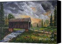 Florida Bridge Painting Canvas Prints - Covered Bridge at Sunset Canvas Print by Marlene Kinser Bell