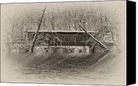 Fairmount Park Canvas Prints - Covered Bridge in Black and White Canvas Print by Bill Cannon