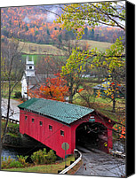 Vermont Autumn Foliage Canvas Prints - Covered Bridge-West Arlington Vermont Canvas Print by Thomas Schoeller