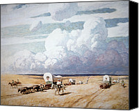 American Midwest Painting Canvas Prints - Covered Wagons Heading West Canvas Print by Newell Convers Wyeth
