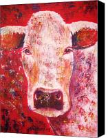 Bull Pastels Canvas Prints - Cow Canvas Print by Anastasis  Anastasi
