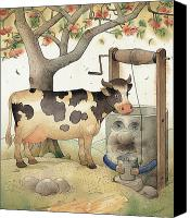 Cow Canvas Prints - Cow and Well Canvas Print by Kestutis Kasparavicius