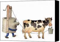 Cow Drawings Canvas Prints - Cow and Well02 Canvas Print by Kestutis Kasparavicius