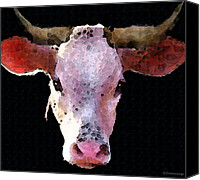 Bulls Canvas Prints - Cow Art - Crazy Girl Canvas Print by Sharon Cummings