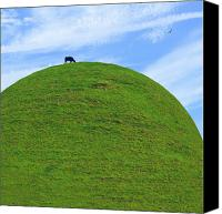 Cow Mixed Media Canvas Prints - Cow Eating On Round Top Hill Canvas Print by Mike McGlothlen