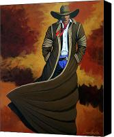 Contemporary Cowboy Canvas Prints - Cowboy Dust Canvas Print by Lance Headlee