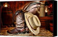 Cowboy Photo Canvas Prints - Cowboy Gear Canvas Print by Olivier Le Queinec