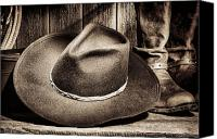 Cowboy Photo Canvas Prints - Cowboy Hat on Floor Canvas Print by Olivier Le Queinec