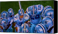 Athletes Canvas Prints - Cowboy Huddle Canvas Print by Steven Richardson