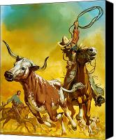 Pioneers Painting Canvas Prints - Cowboy lassoing cattle  Canvas Print by Angus McBride