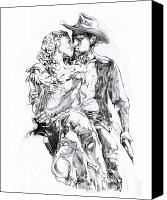 Cowboy Canvas Prints - Cowboy Canvas Print by Mike Massengale