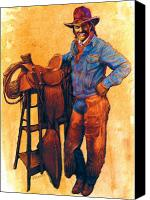Cowboy Mixed Media Canvas Prints - Cowboy Canvas Print by Valerian Ruppert