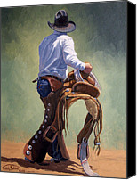 Four Corners Canvas Prints - Cowboy With Saddle Canvas Print by Randy Follis