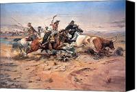Old West Canvas Prints - Cowboys roping a steer Canvas Print by Charles Marion Russell