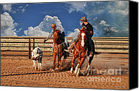 Photomanipulation Canvas Prints - Cowboys Toys Canvas Print by Karen Slagle