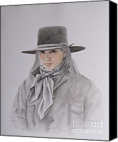 Cowgirl Drawings Canvas Prints - Cowgirl in Hat Canvas Print by Phyllis Howard
