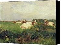 Impressionism Canvas Prints - Cows in Field Canvas Print by Walter Frederick Osborne