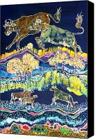 Rural Scenes Tapestries - Textiles Canvas Prints - Cows Jumping Over The Moon Canvas Print by Carol  Law Conklin