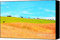 Bulls Canvas Prints - Cows On A Hill . 40D3430 . Painterly Canvas Print by Wingsdomain Art and Photography