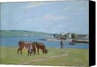Cattle Pastels Canvas Prints - Cows on the Banks of the Seine at Saint Mammes Canvas Print by Alfred Sisley