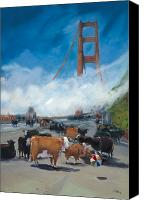 Golden Gate Canvas Prints - Cows on the Bridge 1 Canvas Print by Kathryn LeMieux