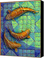 Abstract Organic Canvas Prints - Coy Koi Canvas Print by Jane Bucci