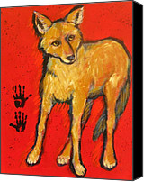 Santa Fe Canvas Prints - Coyote and Hand Prints Canvas Print by Carol Suzanne Niebuhr