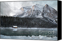 Log Cabin Photo Canvas Prints - Cozy Cabin Morning Canvas Print by Andrea Hazel Ihlefeld
