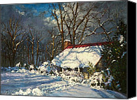 The White House Pastels Canvas Prints - Cozy in the Snow Canvas Print by L Diane Johnson