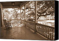 Rocking Chairs Photo Canvas Prints - Cozy Southern Porch Canvas Print by Carol Groenen